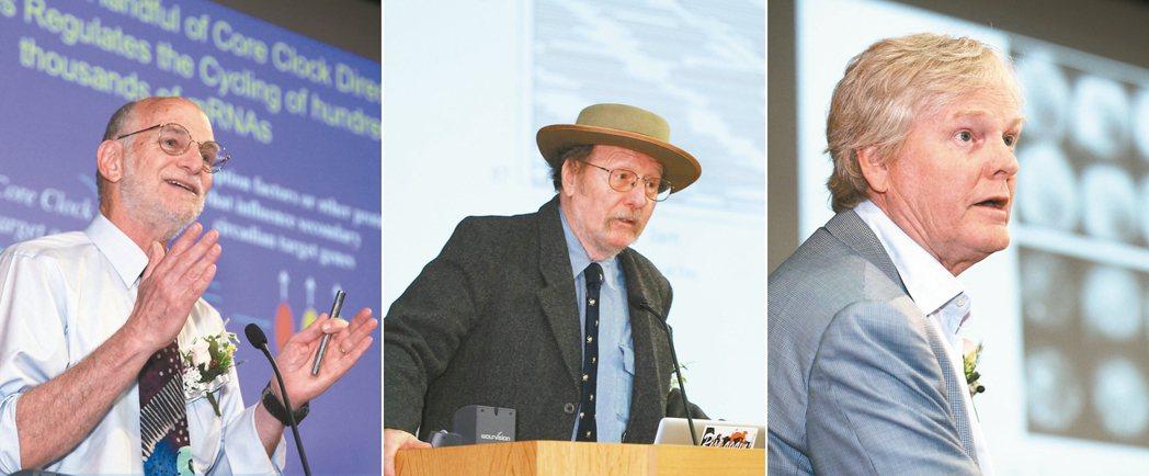 美國學者羅斯巴許(左起)、霍爾與楊恩同獲今年諾貝爾醫學獎。 法新社