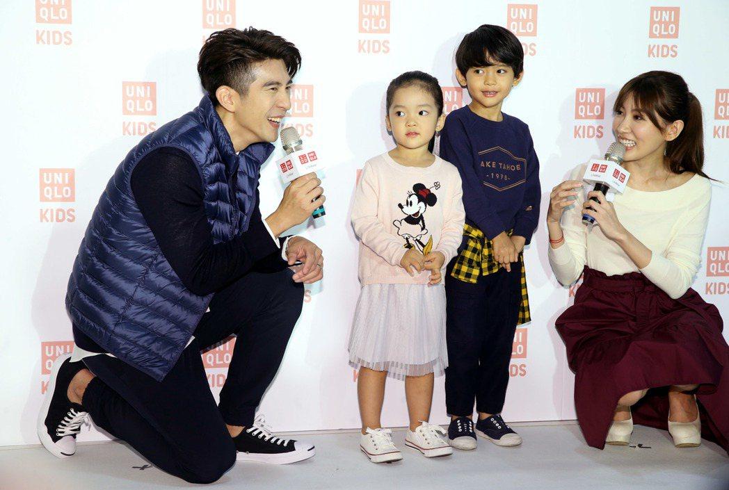 型男爸爸修杰楷,出席UNIQLO童裝與小朋友穿搭互動。記者林俊良/攝影