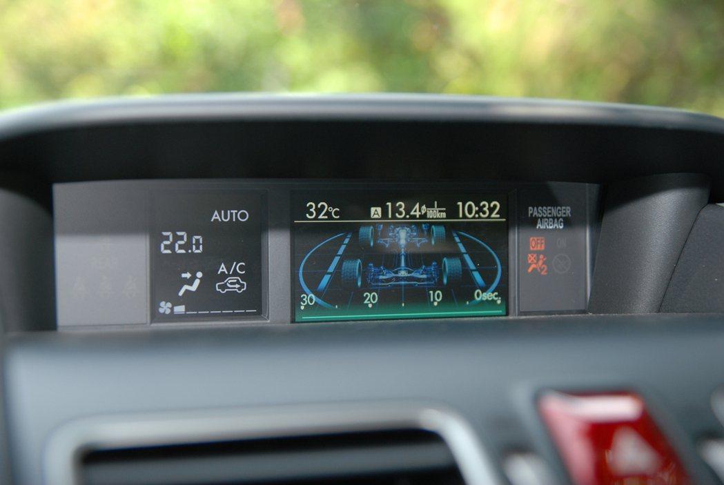 圖為中控台上的 4.3 吋 LCD 多功能行車資訊顯示螢幕。 記者林鼎智/攝影