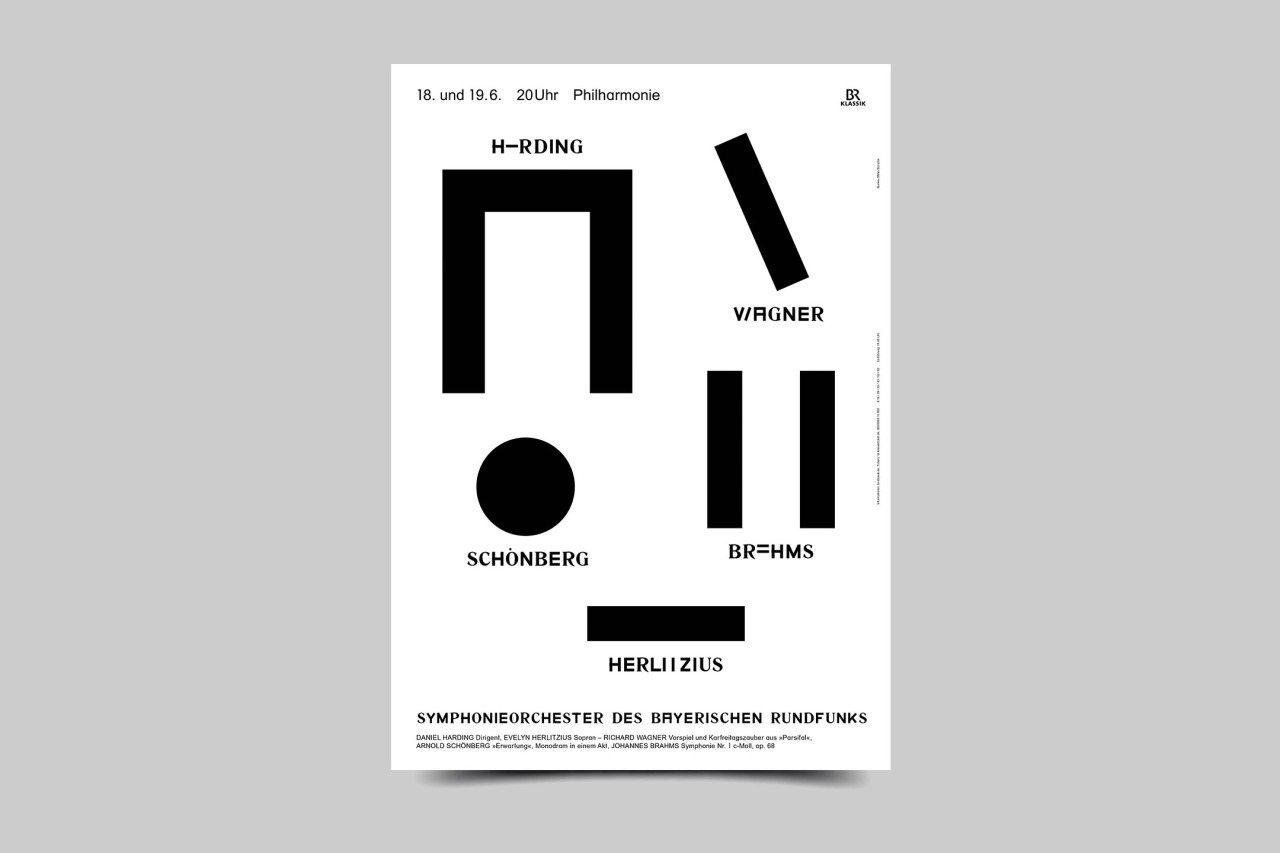 麥瑟在巴伐利亞廣播交響時期以大膽,引人注目的海報設計聞名