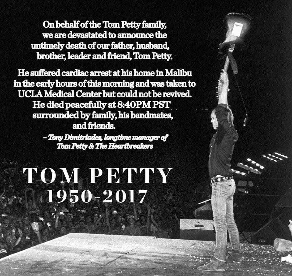 66歲搖滾巨星湯姆佩蒂已於美國時間2日晚間8時許逝世。圖/摘自臉書