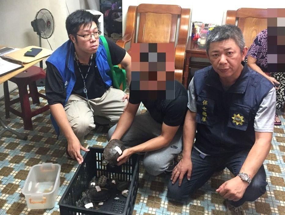 許姓男子(中)被警方逮捕後聲稱,他養保育類烏龜後,憂鬱症的症狀減緩。 記者林孟潔...