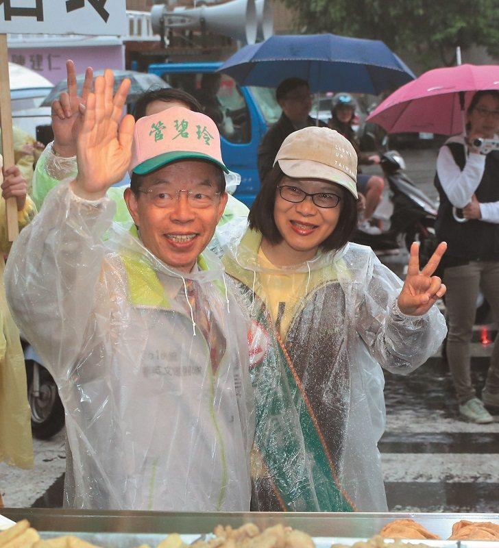 管碧玲(右)沒有成功承接謝長廷(左)在高雄建立的地盤。 本刊資料