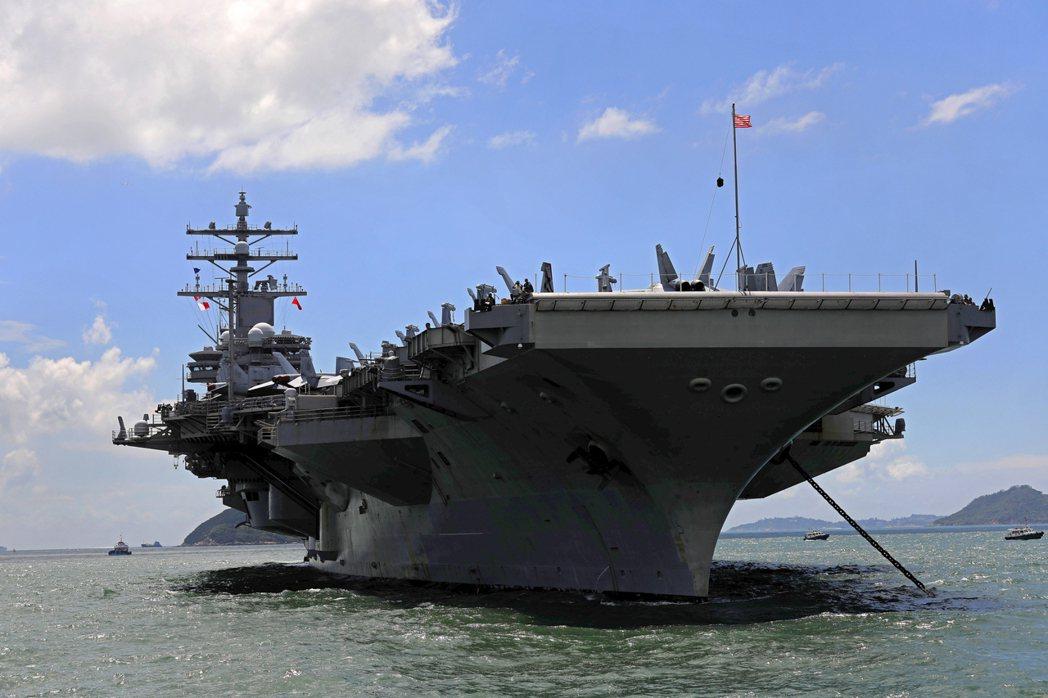 美國航母雷根號。美聯社
