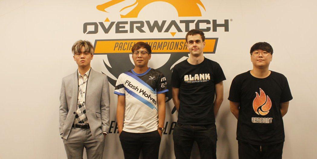 四強戰隊代表接受媒體聯訪。左至右依序為:HKA教練Jay、FW教練Ray、BLK...