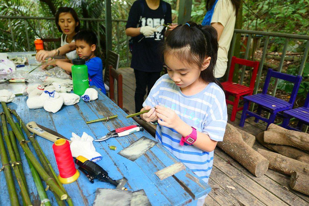 用清理的竹子DIY作竹吸管,可以清洗重複使用。(圖片提供|自然谷)+
