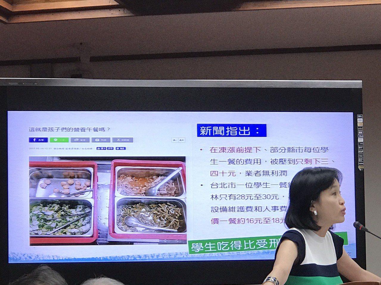 國民黨立委柯志恩引用本報曾報導的高中老師營養午餐紀實。記者馮靖惠/攝影
