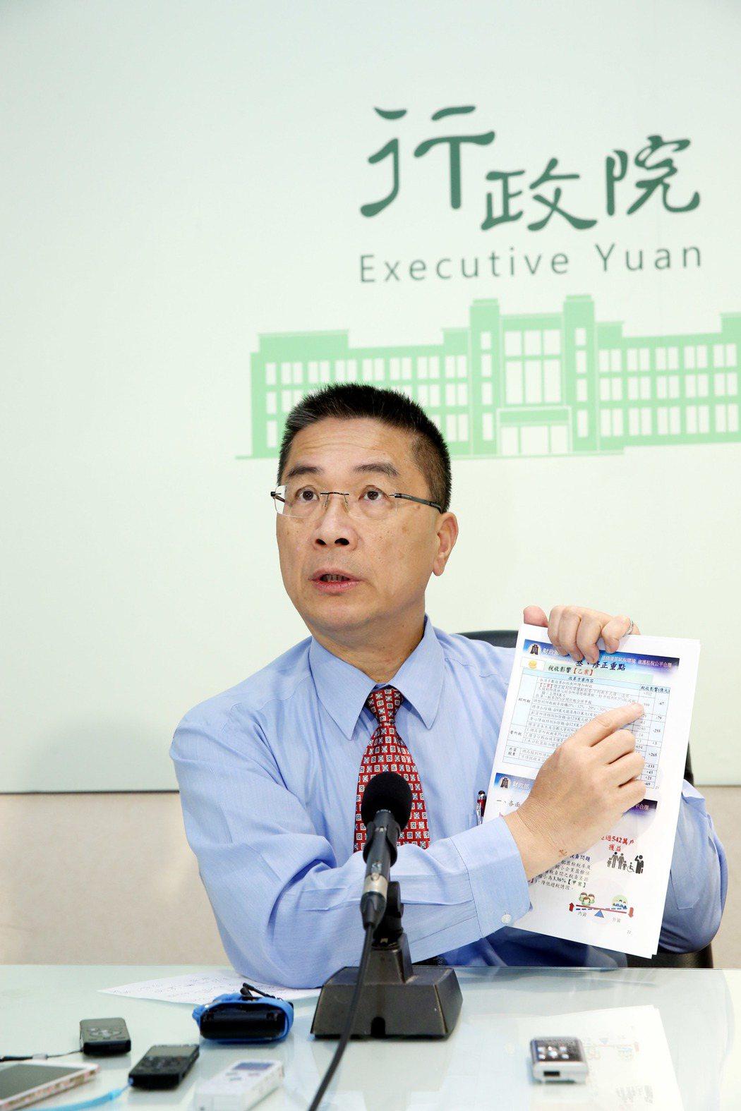 行政院發言人徐國勇下午舉行記者會宣布,行政院在中午的便當會後決定稅改採乙案,並以...