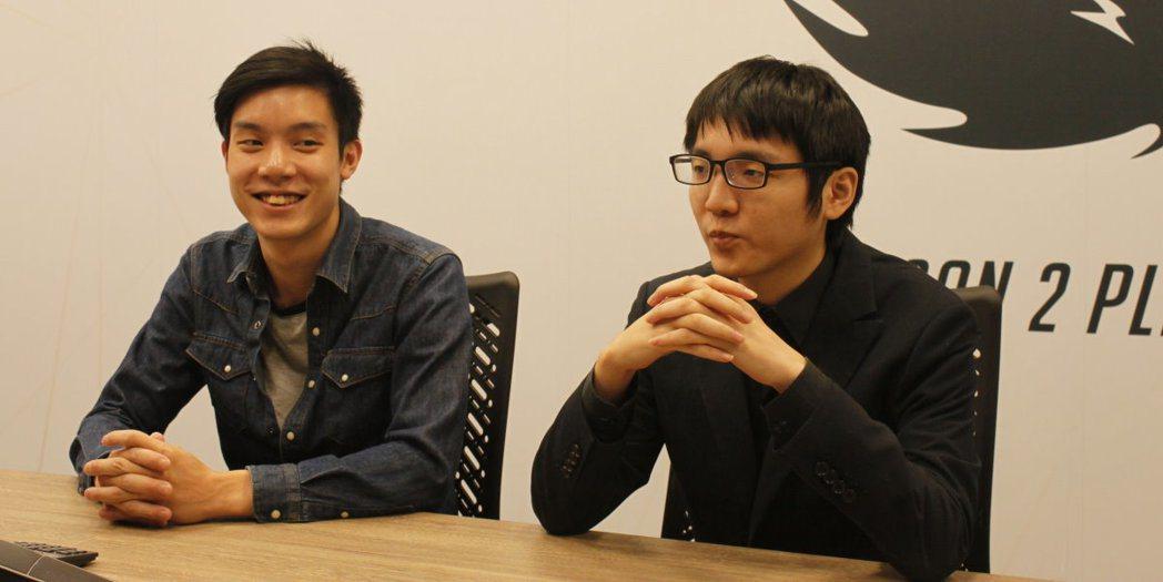 易先生(左)、聶寶(右)在OPC季後賽賽前接受媒體採訪。 攝影/余峯