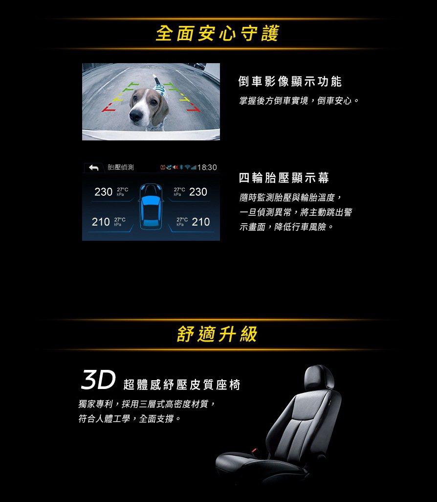 升級搭載「倒車影像顯示功能」及「四輪胎壓獨立顯示。 圖/裕隆日產提供