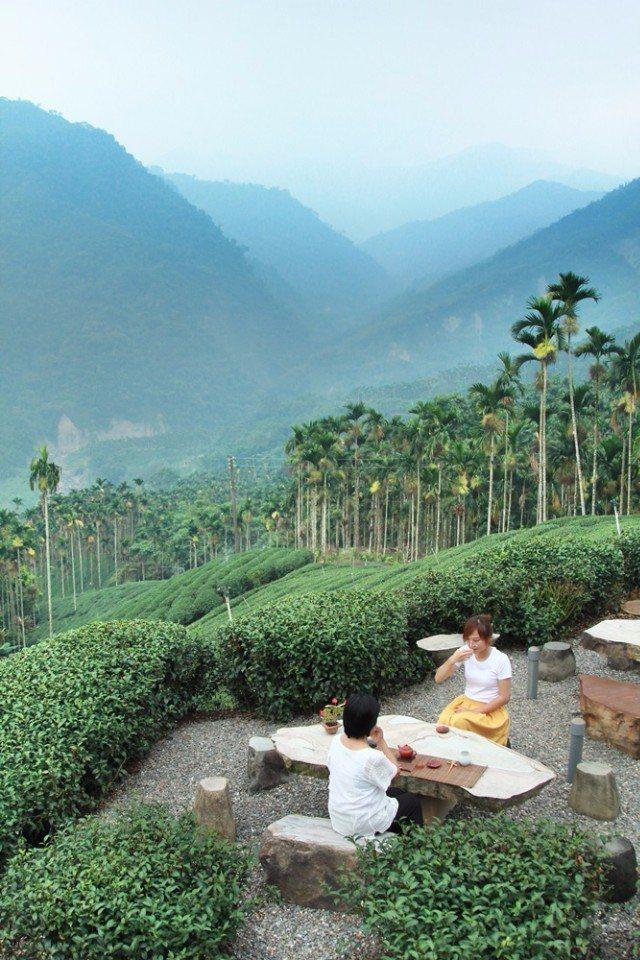 在茶園喝茶,以天為幕、以地為席。(攝影/陳德偉)