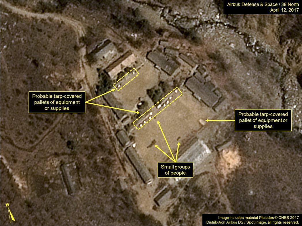 北韓豐溪里核武試爆場衛星空照圖。 美聯社