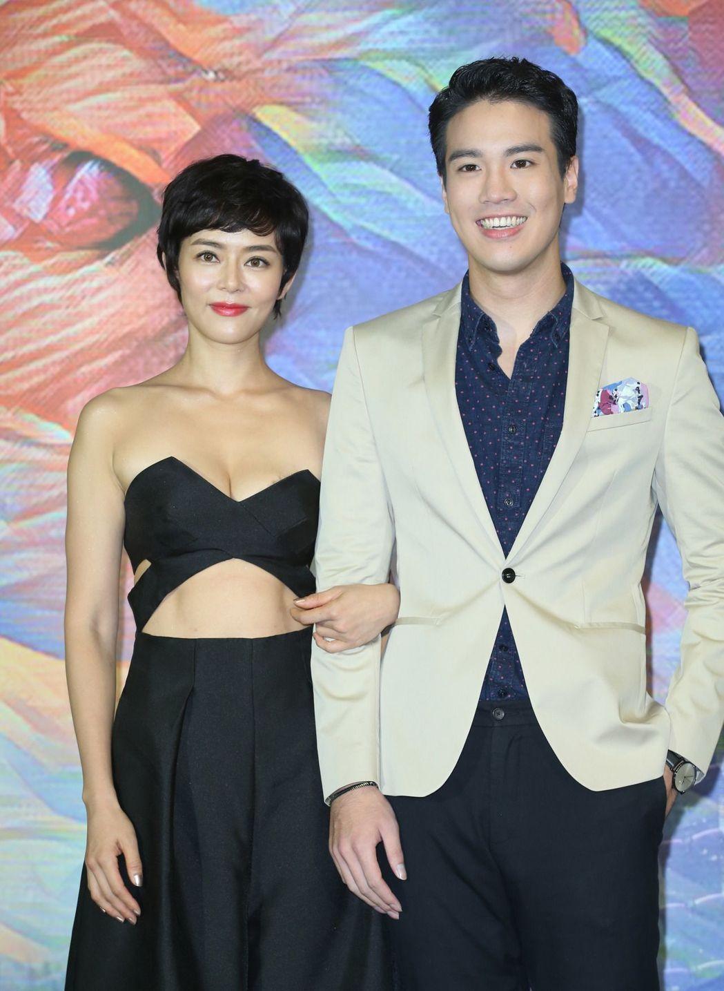 劉香慈(左)與新人謝毅宏(右)共同演出電影新片「乳·房」。記者陳瑞源/攝影 資料