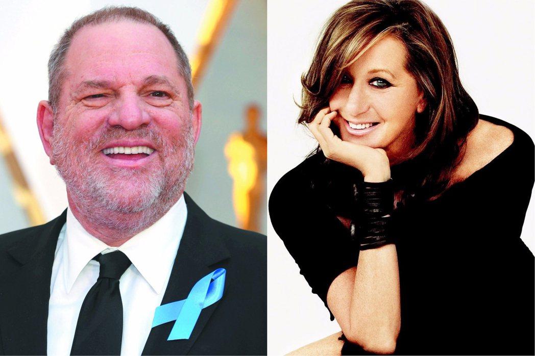 溫斯坦(左)的性侵醜聞曝光後,時裝設計師唐娜凱倫(右)曾為他辯護,稱被性侵者是「
