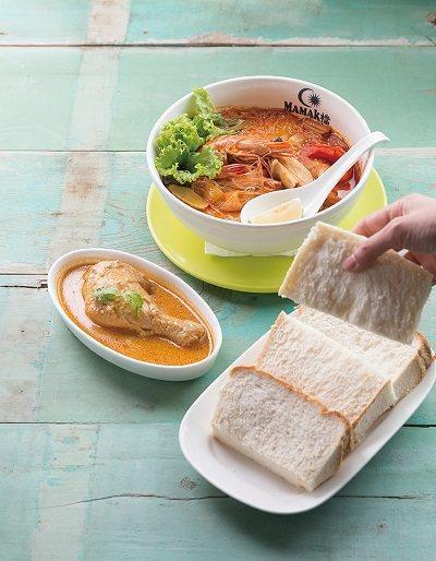 海南蒸麵包+咖哩雞170元(前)/軟Q的蒸麵包搭配咖哩雞一起吃,濃郁的咖哩令人開...