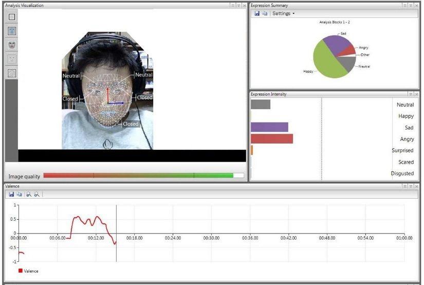 Facereader軟體解說頁面。圖/北醫提供