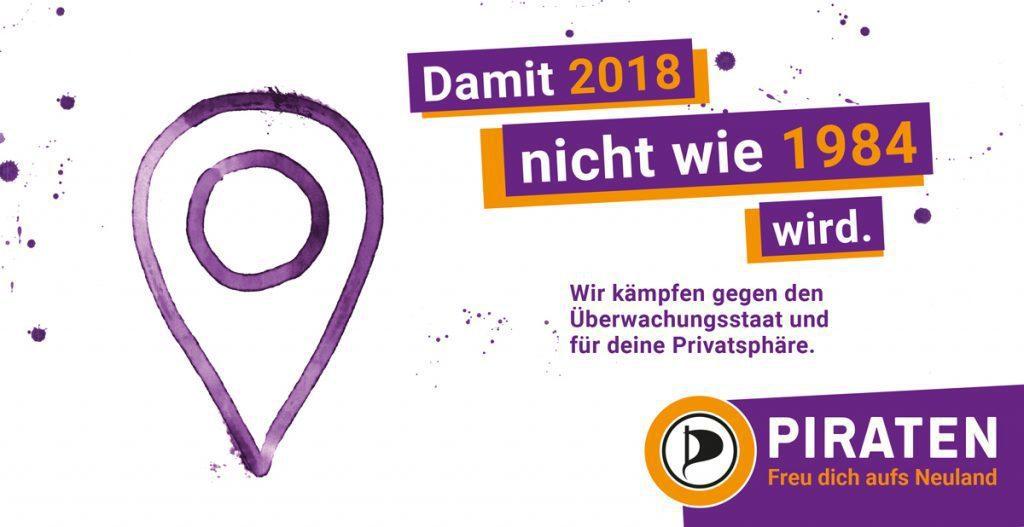 今年海盜黨的競選海報就寫著:「選我們,讓2018不會變成1984」。 圖/德國海...