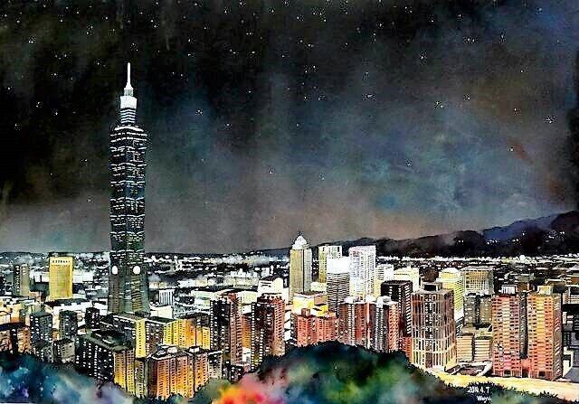 張偉鈺表示,創作一幅4開水彩作品,從動筆到完工至少需4天,圖為「台北101」。圖...