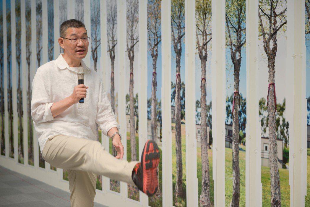 石晉華的作品「瑜珈樹」,是藝術家身體跟樹融合為一直線的故事。記者徐如宜/攝影