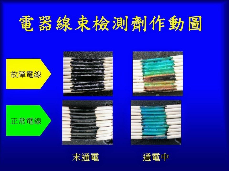 徐子圭發明的獨家塗劑,只要在電線或延長線上塗上一小段,短路電線會立刻變色,民眾能...