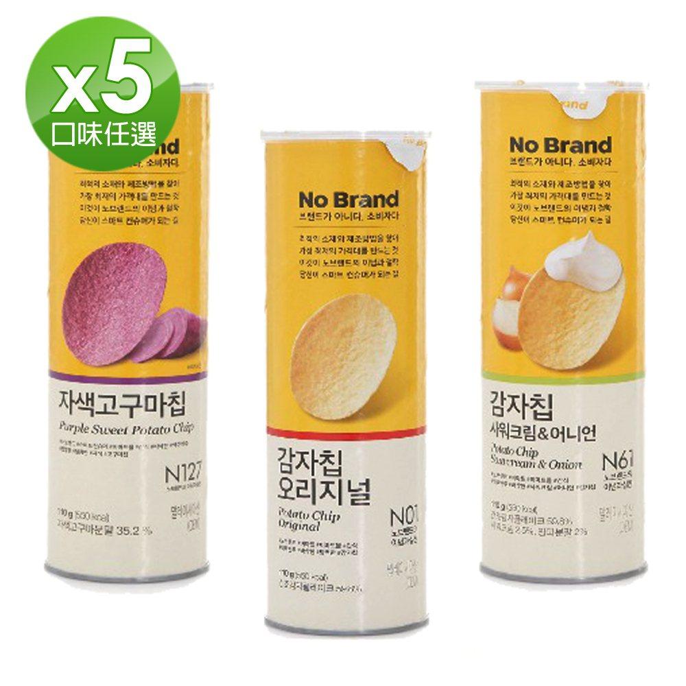 韓國No Brand洋芋片,原味、紫薯、洋蔥酸醬等任選5入促銷價350元。圖/m...