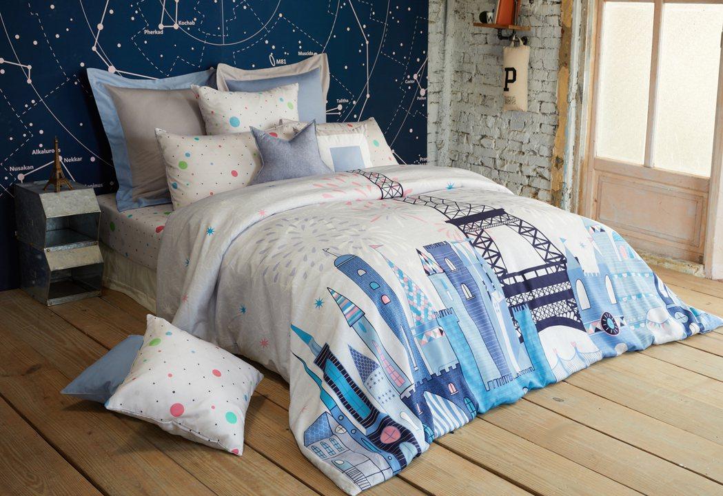 La mode寢飾100%萊賽爾天絲印花床組-城市派對。圖/La mode提供