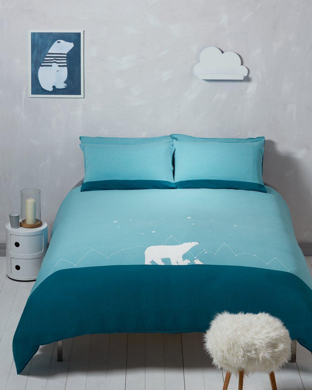美國棉北極熊雙人床組。圖/以旺傢飾提供