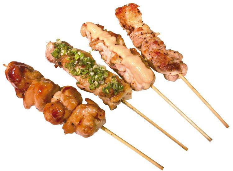 藏鱻燒樂,醬燒雞腿串、蔥燒雞颴串、明太子雞腿串、鹽烤雞腿串,每串89元。圖/新光...
