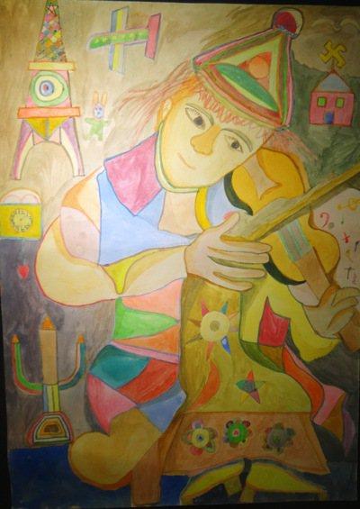 自幼罹腦瘤一生抗癌的畫家曾耀德,無師自學,用生命創作出動人的作品。 記者蔡維斌/...