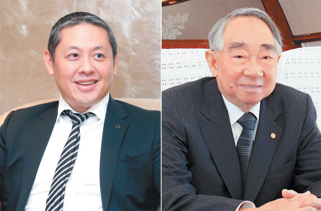 微風集團董事長廖鎮漢(左)、長榮集團已故總裁張榮發(右)。 聯合報系資料照