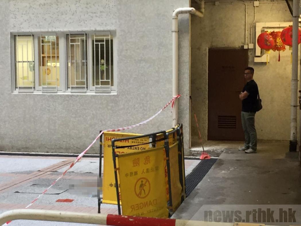 男童墜樓現場已封鎖。(取材自香港電台)