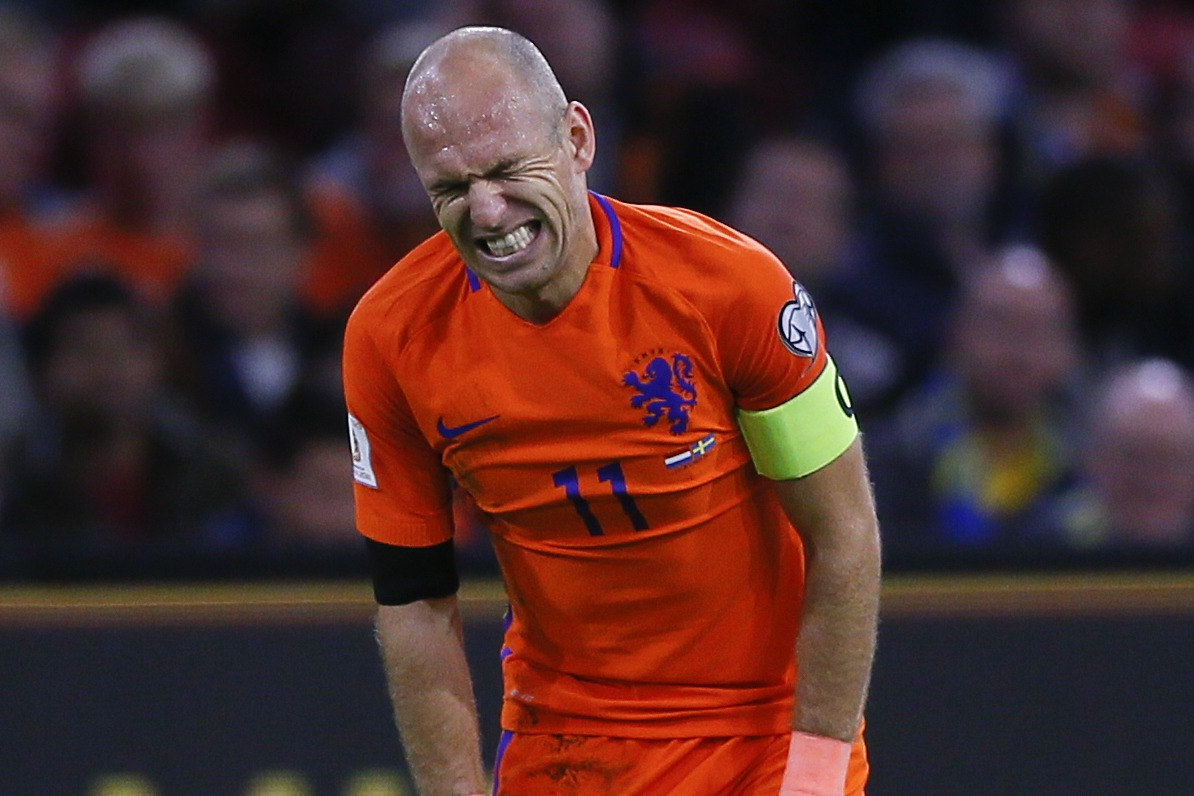 羅本無奈告別,荷蘭隊如今缺乏頂級球員。 美聯社