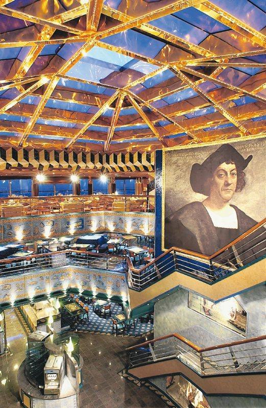 歌詩達郵輪.幸運號的哥倫布自助餐廳美侖美奐。