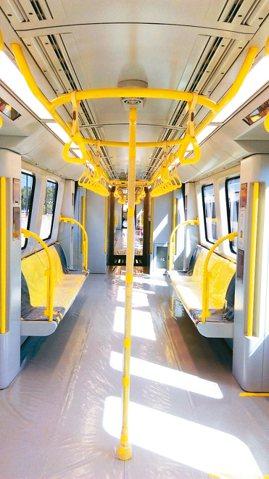 環狀線列車車廂內裝。