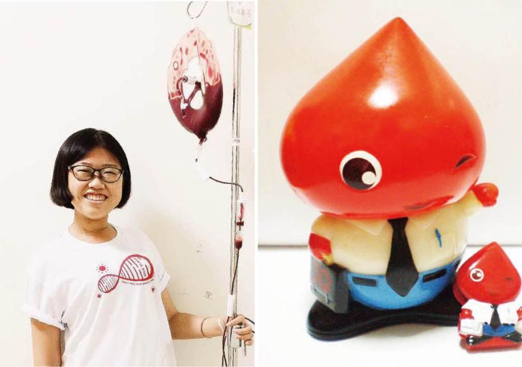 李佳鎂(左圖)從小就愛畫畫,小學四年級時就為台南捐血中心設計血寶寶公仔。 圖/李...