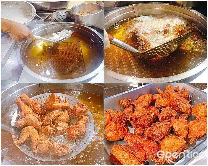 ▲現點現做的「薄皮一隻雞」,製作時間約為10分鐘,不僅一次就可吃到整隻全雞,剛炸...