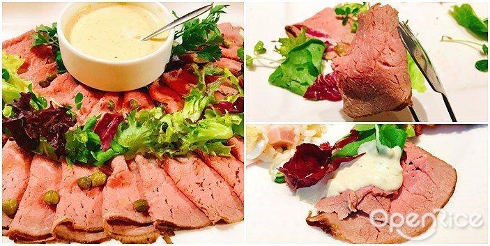 ▲「冷製牛肉佐鮪魚醬」是將鮪魚、酸豆、蛋黃與葡萄酒醋和鮪魚打成泥醬佐食,小牛肉以...