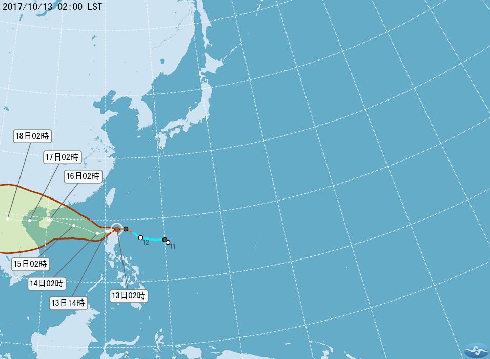 吳德榮說,今天清晨2時中央氣象局颱風潛勢預測圖顯示,輕颱卡努將通過呂宋島北部,白...