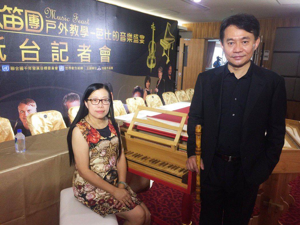 台灣木笛團理事長王孟蓁(左)、音樂總監吳明宗(右),兩人長年關心偏鄉孩子。記者郭...
