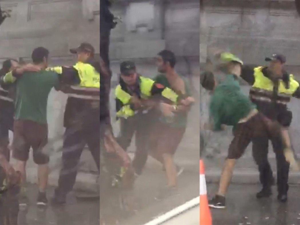 一名伊朗籍男子涉嫌打警察。記者蕭雅娟/翻攝