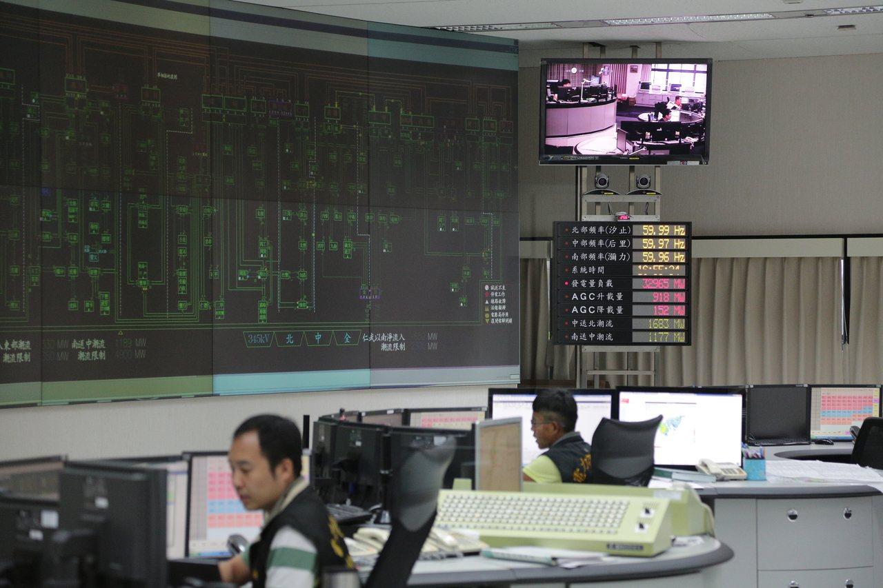 和平電廠2號機破管解聯,台電表示供電無虞,圖為台電中央調度中心。聯合報系資料照片...