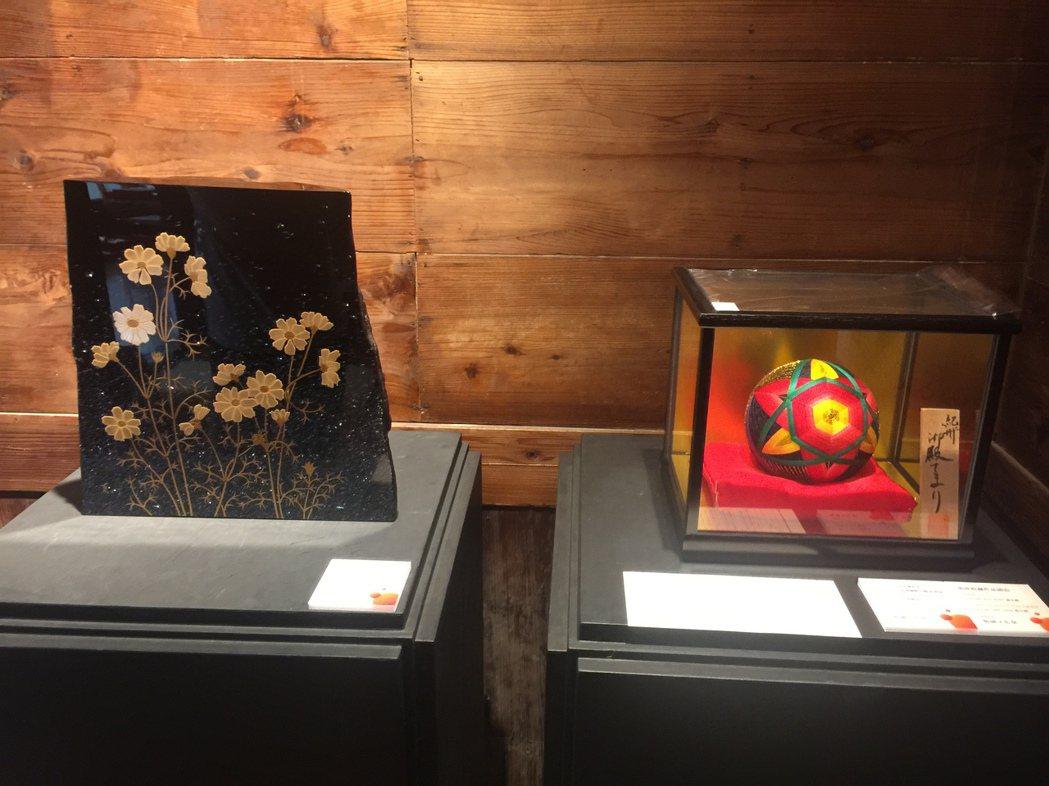2017和風文化祭展出漆器(左)與彩線球(右)。記者吳政修/攝影