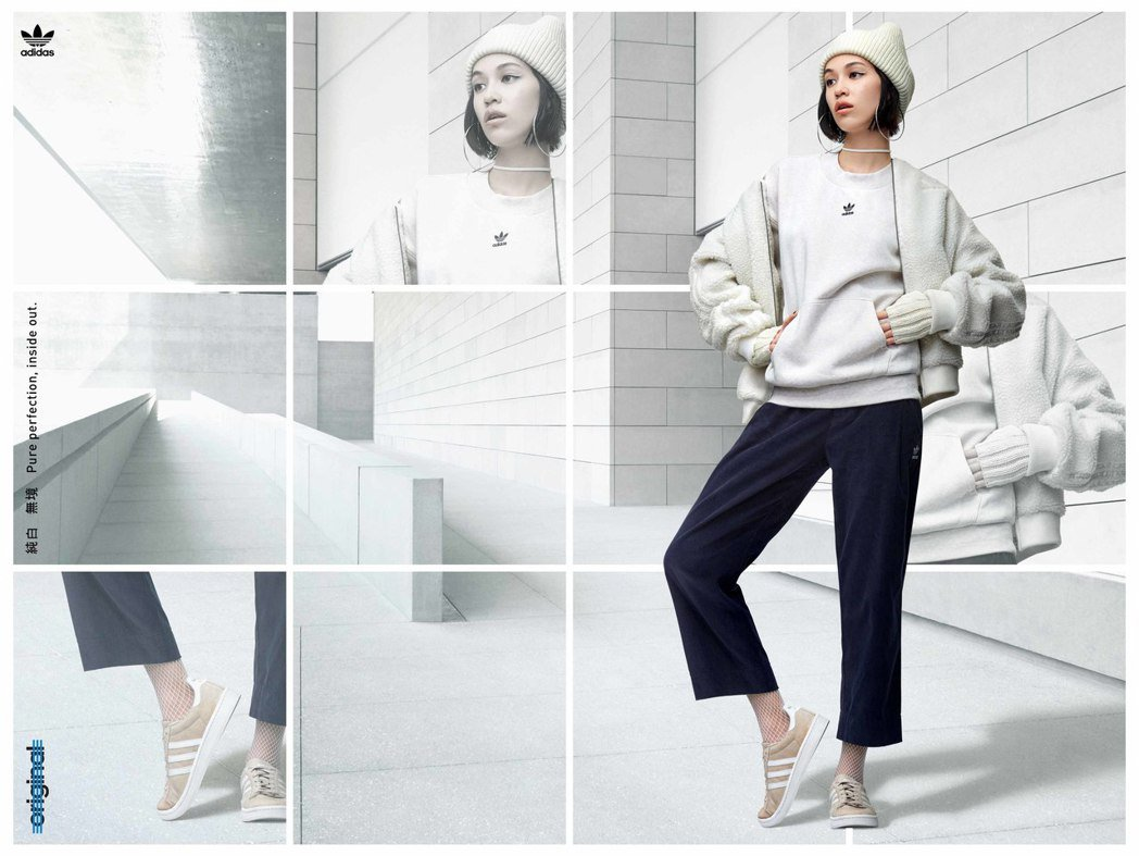 水原希子以米白色上衣與毛料外套,搭配深色寬褲,搭配米白色Campus表現秋冬個性...