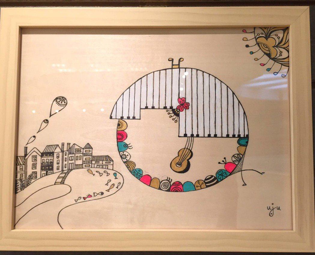 琇琴畫的插畫日前參加高雄美術館展覽。圖/于子育提供