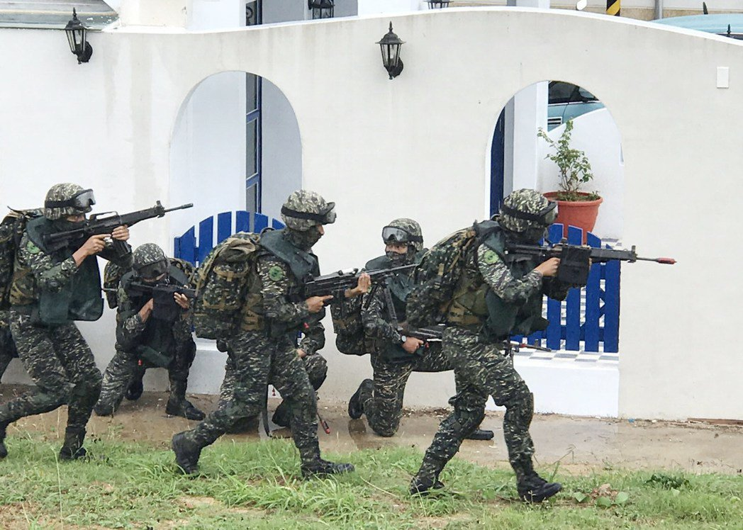 陸戰隊參加漢光演習照片。報系資料照