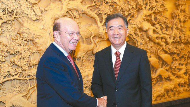 大陸國務院副總理汪洋(右)。 中新社