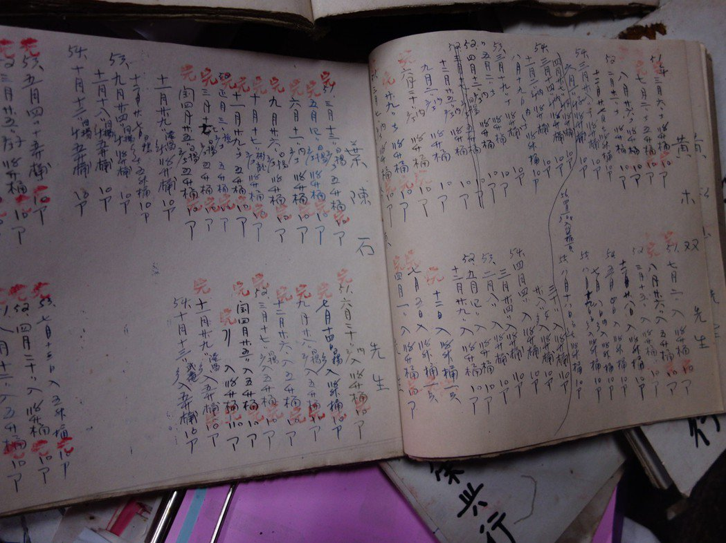 「榮興商店」見證了早年礦業發展的興衰,商店內一本本賒帳簿,記錄當年雜貨店的營運模...