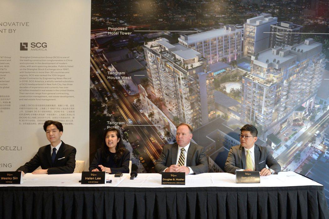 左起為富頓集團行銷公關經理孫偉家、李芝璇、上海建工集團工程部負責人Douglas...