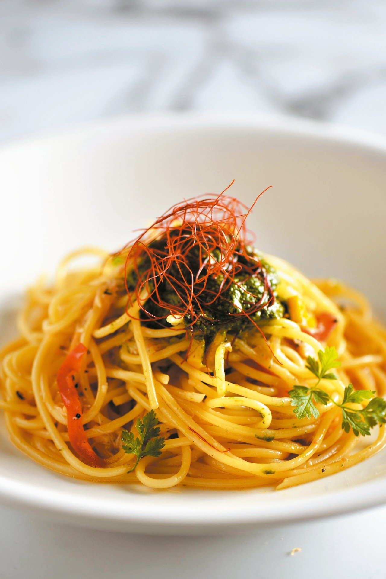 青醬甜椒蟹肉直麵 圖/業者提供