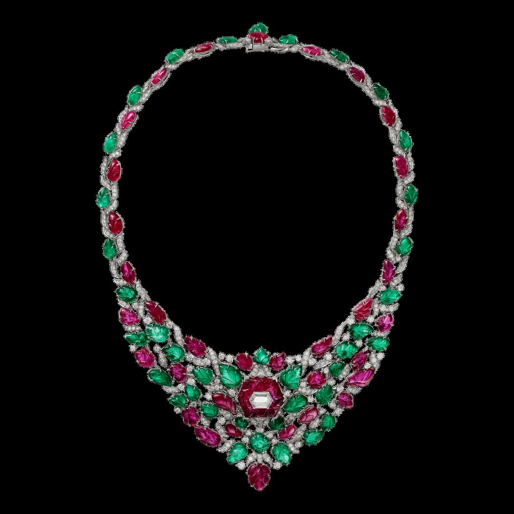 Chandigarh(印度城市名)Tutti Frutti 紅寶石祖母綠項鍊,白...